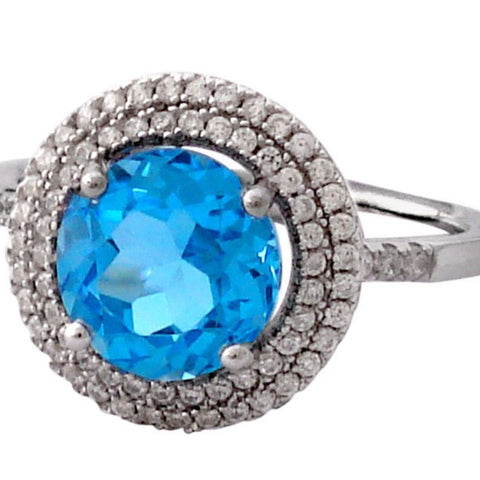 5.5ct Deep Blue Topaz + Zircon Ring