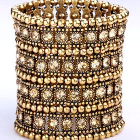 6 Row Stretchy Cuff-Gold Plated Metal with