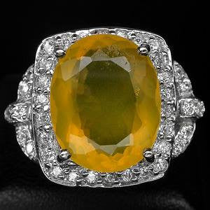 6ct Yellow Opal + White Sapphire Ring