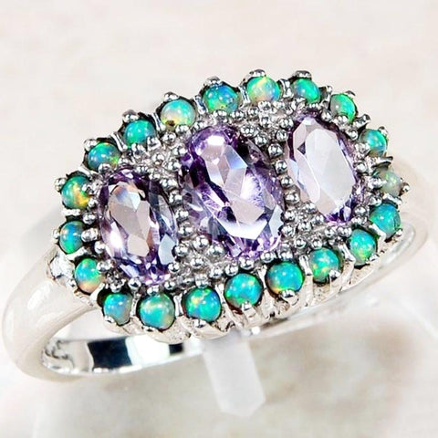 Amethyst Trio, Fire Opal Ring