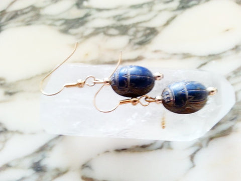 Ancient Lapis Scarabs on Gold Vermeil Wire Earrings