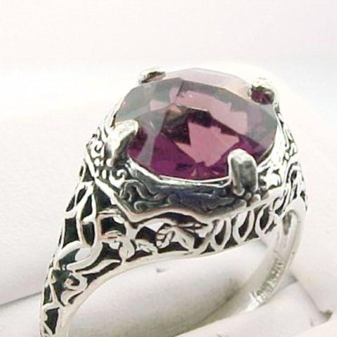 Antique 3ct Amethyst & Sterling Ring