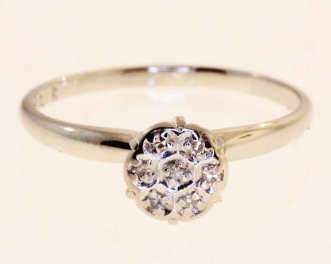 Antique Diamond Cluster White Gold Ring