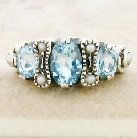 Blue Topaz + Pearl Ring - Size 9