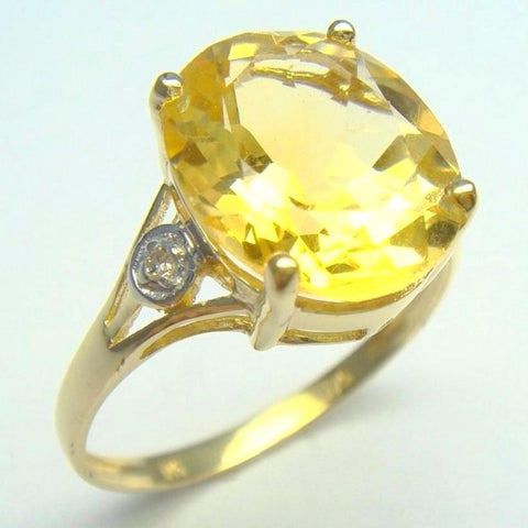 Citrine + Diamond Ring. Size 7