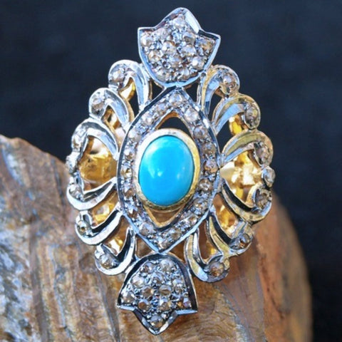 Diamond + Turquoise ring. Size 7.25