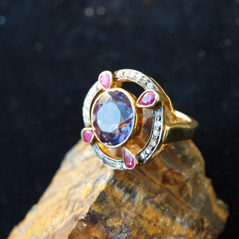 Estate Diamond Ruby and Amethyst Ring