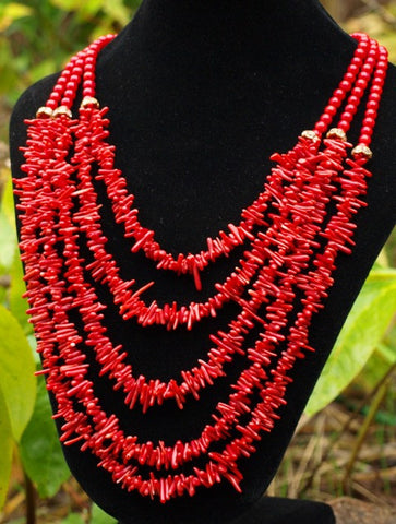 Vintage 5-Strand Coral Necklace