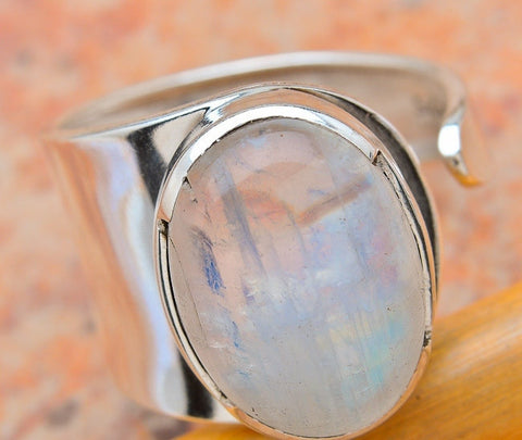 Generous Moonstone Silver Ring - Size 9