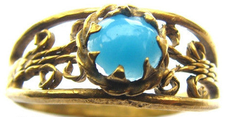 Georgian Turquoise Gold Gilt Ring - Size 9.25