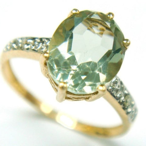 Green Amethyst, diamonds and gold ring