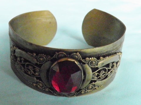 Intricate Art Deco Cuff with Red Stone
