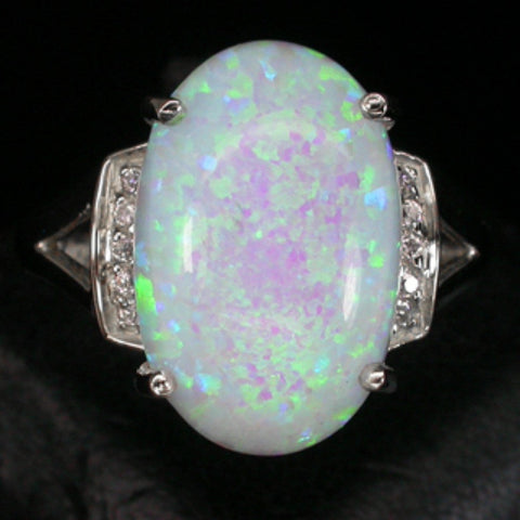 Large Oval Opal and White Sapphire Ring