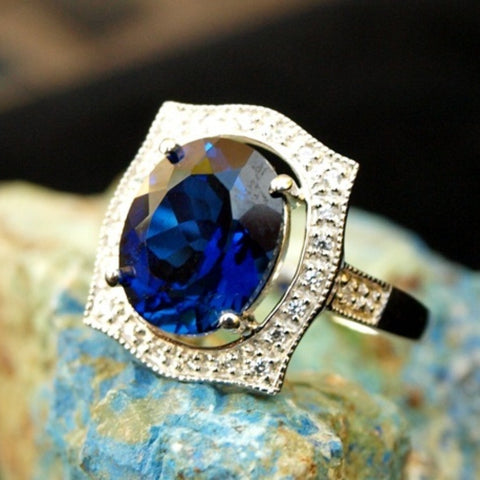 Large Oval cut Blue and White Sapphire Ring - Size 6.5