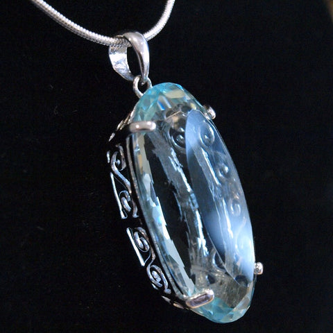 Light Blue Topaz Silver Pendant