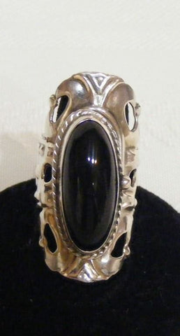 Magnificent Onyx Vintage Poison Ring