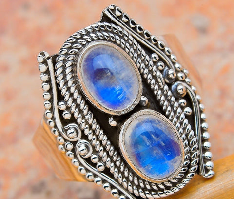 Moonstone Silver Ring - Size 7.75