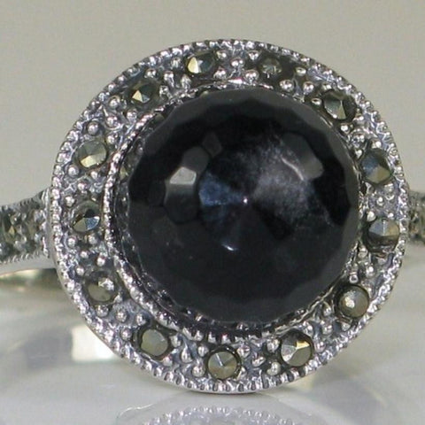 Onyx Briolette and Marcasite Ring