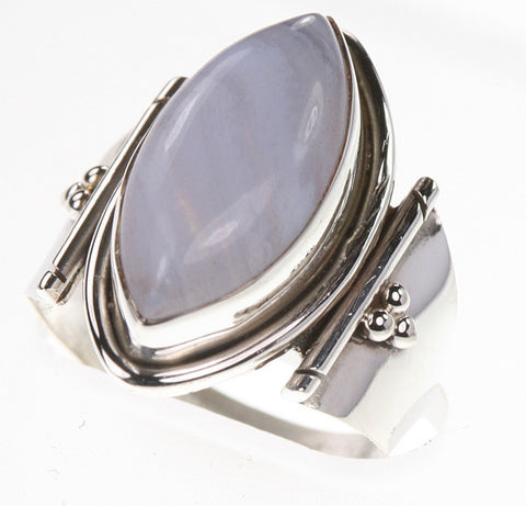 Pale Blue-Grey Agate Ring - Size 7.25