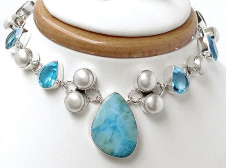Rare Larimar, Topaz, Pearl Necklace