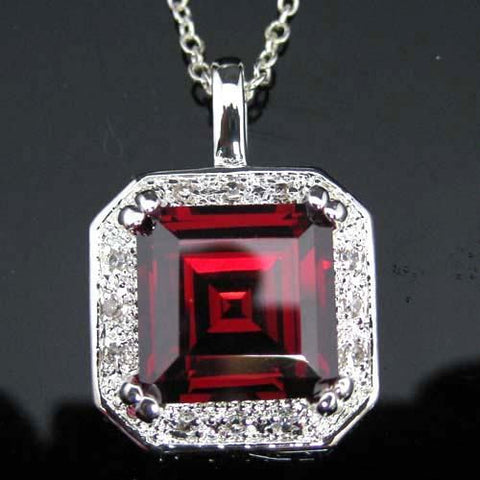 Red + White Topaz Pendant - Sterling Chain