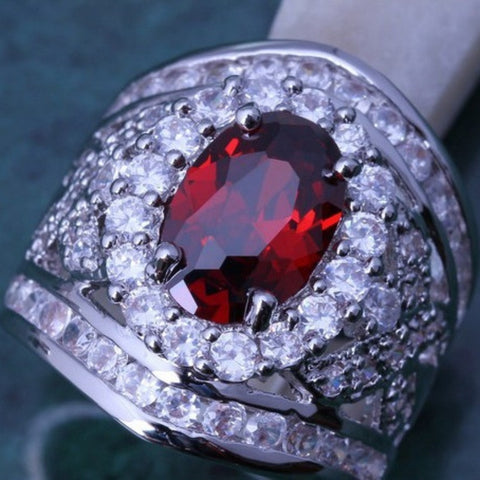 Red and White Topaz Ring- Size 7.5