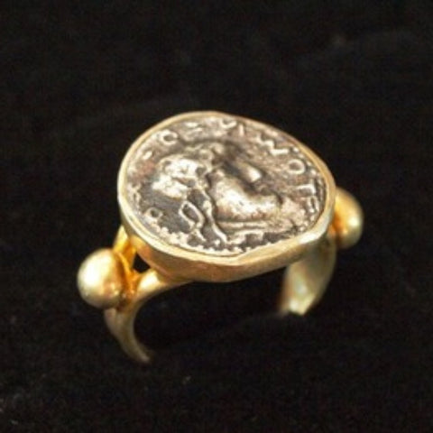 Roman Silver Denarius Coin Gold plated Ring
