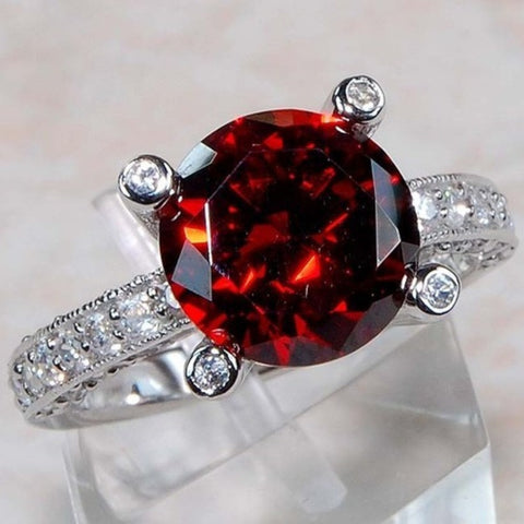Ruby Red and White topaz Ring - Size 6