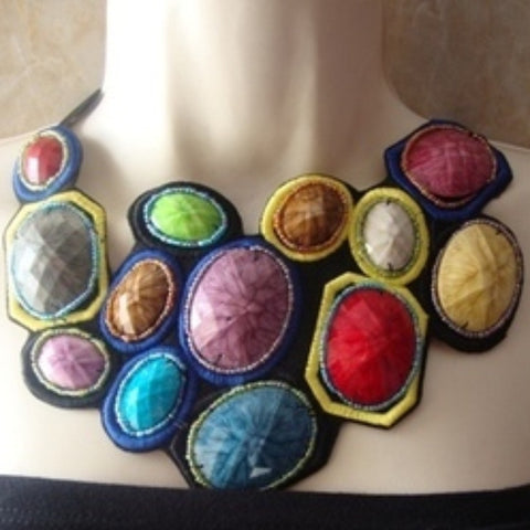 Statement Necklace-Acrylic Stones