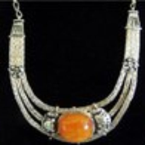 Tibetan Silver Petrified Beeswax Necklace Set