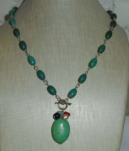 Turquoise Bead + Silver Necklace