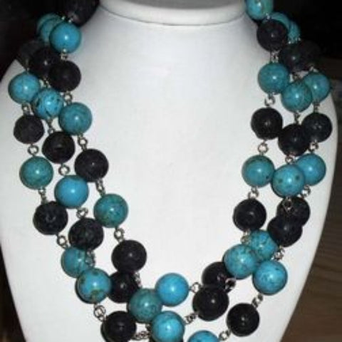Turquoise + Volcano Bead Necklace