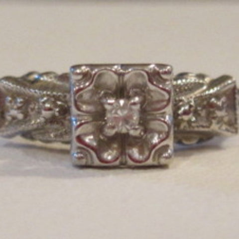 Victorian 2mm diamond 14KWG Ring