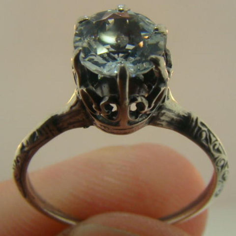 Victorian Aquamarine and Sterling Engagement Ring