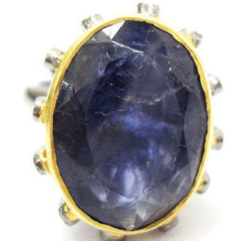 Victorian Lolite Ring in Basket of Diamonds