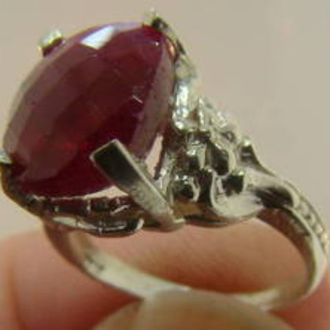 Victorian Opaque Ruby & Silver Ring