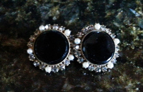Vintage Black Clip Earrings