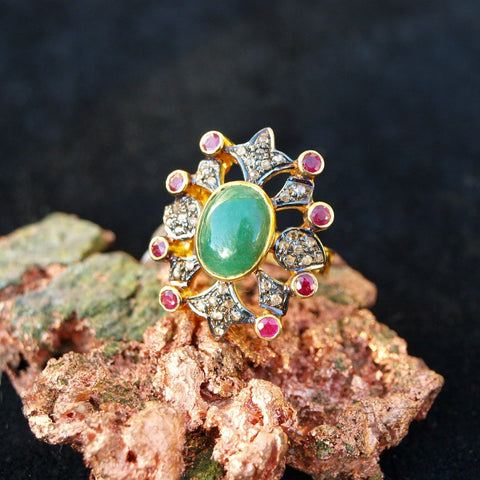 Vintage Emerald Ruby Diamond Ring - Size 7