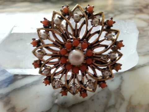 Vintage Faux Coral + Pearl Pin