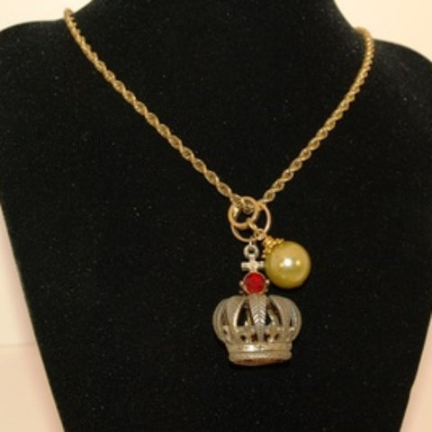 Vintage GP Chain & Crown Charm Pendant