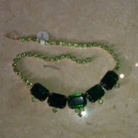 Vintage Green Rhinestone Necklace-Rare!
