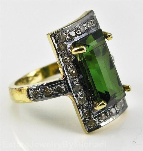 Vintage Green Tourmaline + Diamond Ring - Size 4