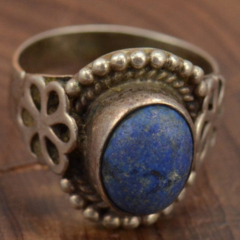 Vintage Lapis Sterling Ring - Size 7.25