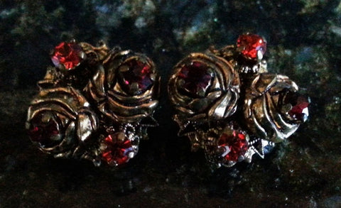 Vintage Red Rhinestone Clip Earrings - .5