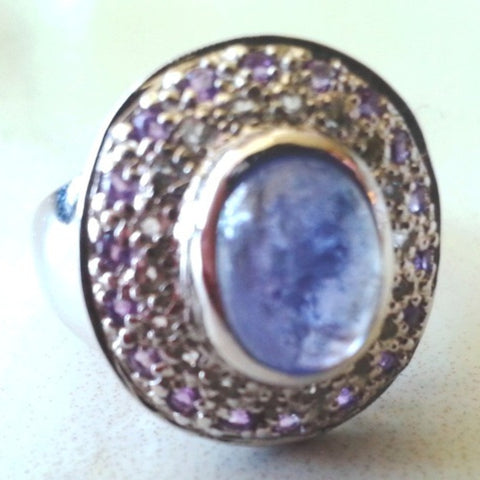 Vintage Tanzinite Amethyst and White Topaz Ring - Size 7.5