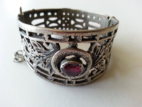 Vintage Tribal Cuff with Red Stone