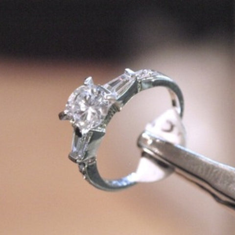 White Topaz & Silver Engagement Ring