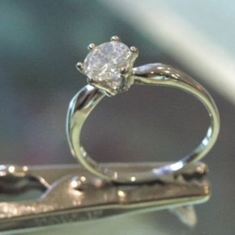 White Topaz Soliatre Engagement Ring