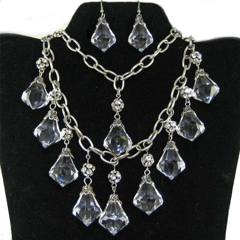 Crystal + Rhinestone Bead Necklace Set