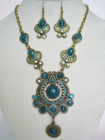 Etruscan Style Teal Necklace Set